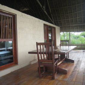Dining Are on Veranda of the Eco Friendly Lodge for Sale, Dar es Salaam by Tanganyika Estate Agents