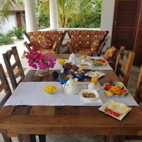 Breakfast Setting for two on the Two Villa Hotel for Sale in Jambiani, Zanzibar by Tanganyika Estate Agents