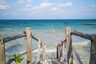 A staircase to the beach on the Two Villa Hotel for Sale in Jambiani, Zanzibar by Tanganyika Estate Agents